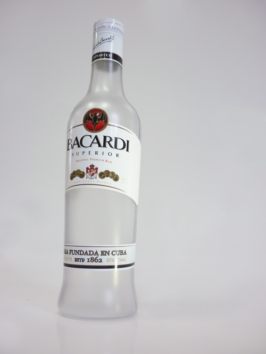 barcardi bottle for plastic point of sale display
