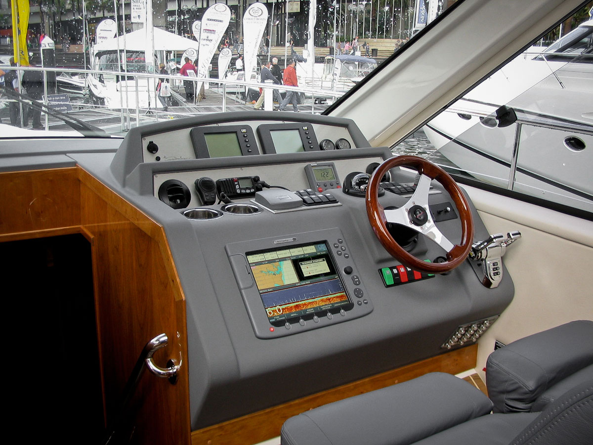 boat dashboard at boat show